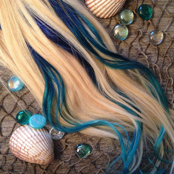 Blue hair, Turquoise Hair, Teal Hair, Ombre Hair Extensions, Hair extensions clip in, Human Hair Extensions, Festival hair, Mermaid Hair