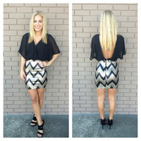 Gold Holiday Chevron Mini Dress