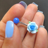 Detailed Blue Rose Belly Button Ring Flower Navel Stud Jewelry Bar Barbell Piercing