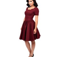 Preorder -  Unique Vintage Merlot Roman Holiday Sleeved Scalloped Swing Dress