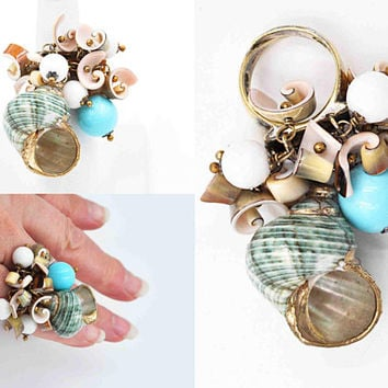 Vintage Artisan Sterling Silver Shell & Bead Cluster Ring, Statement, Beach, Ocean, Size 5 1/2, Adjustable, Summer, So Cool! #c486