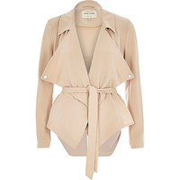 River Island Womens Beige cropped drape trench jacket