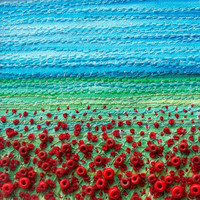 """Poppy field beaded fabric landscape card - stitched beaded fabric art card - 5"""" x 5"""" square embroidered card - textile art"""