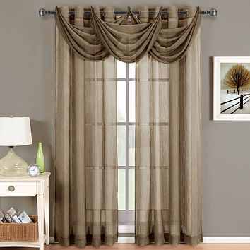 Mocha 24x24 Abri Grommet Crushed Sheer Curtain (Valance Only)