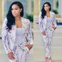 Plus Size Catsuits Fashion Full Sleeve Blazer And Long Pant 2 Piece Set Jumpsuit Women Coat Pocket Floral Print Bodycon Rompers