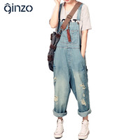 Women's casual loose denim overalls Lady's hole ripped baggy jeans Wide leg pants for woman