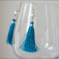 Sky blue tassel earrings Freshwater pearl and grey Smoky Quartz gem rondelles Pale gold Chinese Asian style Silk road Chinoiserie Festival