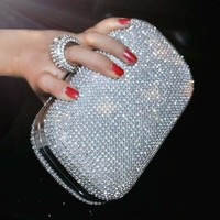 Diamond-Studded  Evening Clutch Bag