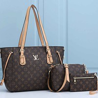 Louis Vuitton LV Classic printed letters retro shopping bag shoulder bag Three-piece messenger bag