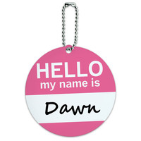 Dawn Hello My Name Is Round ID Card Luggage Tag