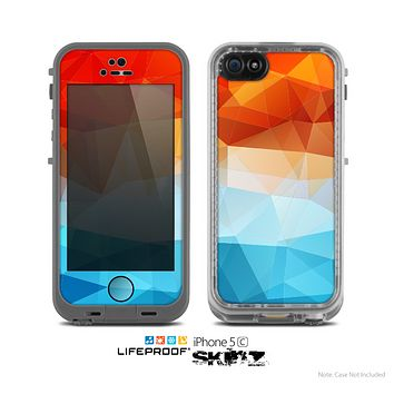 The Vector Abstract Shaped Blue-Orange Overlay Skin for the Apple iPhone 5c LifeProof Case