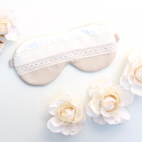 White Lace Sleep Mask, Champagne Satin Lace Eye Mask, Bridesmaids Sleep Mask, Lace Sleeping Mask