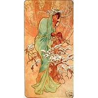 Winter Alphonse Mucha Art Deco Poster