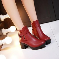 Buckle Ankle Boots High Heels Women Shoes Fall|Winter 7925