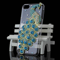 Beautiful 3D Peacock Rhinestone Bling Clear Back Case Cover For iPod Touch 5 5G