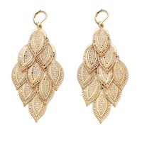 Marquise-Shaped Filigree Chandelier Drop Earrings in Yellow Gold Tone
