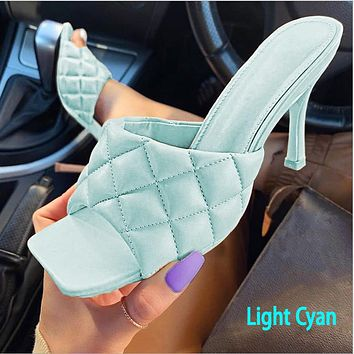 2020 high heels square new spring and summer style stiletto sandals and slippers light cyan