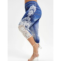 Lace Push Up 3D Print High Waist Jeans