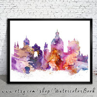 Lisbon  City Skyline, Art Print, Lisbon  poster, Lisbon art, Lisbon  watercolor, watercolor poster, map poster, City watercolor,