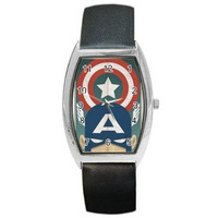 Captain America From a Vintage Poster on a Barrel Watch with Leather Band