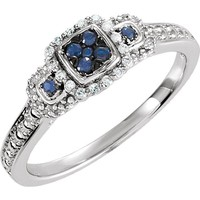 Sterling Silver Blue Sapphire & .06 CTW Diamond Multi Stone Halo Ring