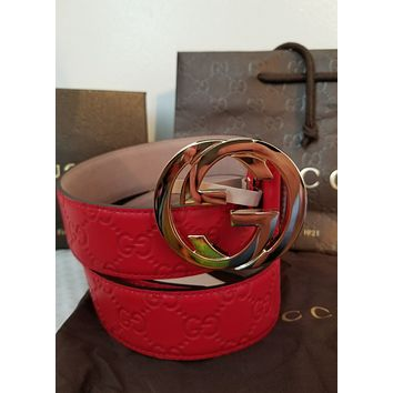 """New Gucci Belt Red Guccissima Print w/ Gold GG Buckle 36""""-38"""""""