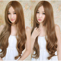 Synthetic Hair Wig Natural Party Wigs For Women 70CM Long Wavy Curly Bangs