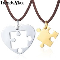Trendsmax Puzzle Heart Love Mens Pendant Necklace Chain Stainless Steel Fabric Brown Chain Gold Silver Black Tone KKPM41A