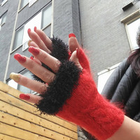 Red Fingerless Gloves Steampunk Victorian Mittens Black Faux Fur  Red Mohair gloves Mohair Fingerless Gloves Romantic Gifts  Valentines day