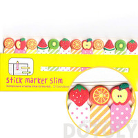 Colorful Kiwi Orange Strawberry Fruit Shaped Sticky Post-it Index Bookmark Tabs | Cute Affordable Food Themed Stationery