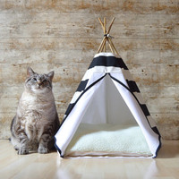 Cat bed Cat teepee Dog teepee with cushion - large stripes - black & white - Pet tent
