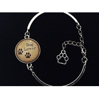 Dog Lover with Paw Prints Glass Domed Charm on a Silver Adjustable Cuff Bracelet Trendy Bangle Gift Meaningful Animal
