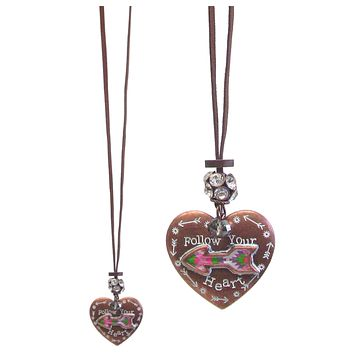 Follow Your Heart Long Heart Pendant Necklace