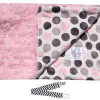 """Baby Laundry 91227 Soft Minky Pink Dot & Swirl Cuddle 14""""x18"""" Baby Blankey with Pacifier Clip"""