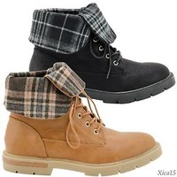 Women's Ankle Combat Boots Low Heel Fold Over Plaid Design Lace up Black or Tan