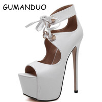 Latest Arena Runway Rome Sandals Women High Heels 16CM Sexy Open Toe Ankle Strap Party Wedding Shoes Woman Platform Pumps