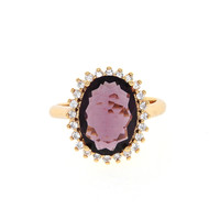 Dear Deer Rose Gold Plated Classic Purple Cubic Zirconia Round Cocktail Ring