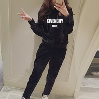 """""""Givenchy"""" Women Casual Fashion Gold Velvet Letter Long Sleeve Hoodie Sweater Trousers Set Two-Piece Sportswear"""