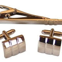 Silver Cufflinks and Tie Clip Combo Wedding Gift