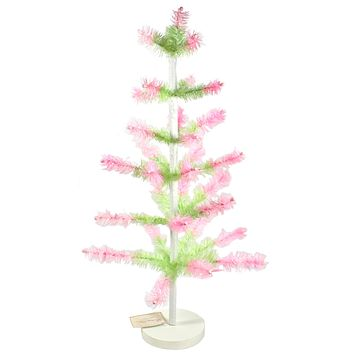 Easter Feather Tree Green With Pink Spring Goose Hand Wrapped - LG0653