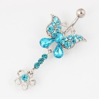 Rhinestone butterfly belly button ring Woman fashion body piercing navel ring jewelry Retail 14G 316L surgical steel bar TAIERS