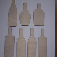 7 Pieces, Wine Bottle Wood Shapes,Laser Cutouts,Unfinished Wood,Woodcrafting Pieces,Tags,Wood Ornaments,Christmas Decorations,Wood Shapes