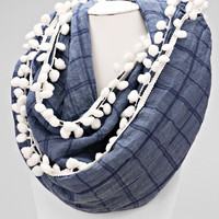 Blue & White Fringe Ball Scarf