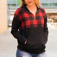 Plaid Pullover - Red