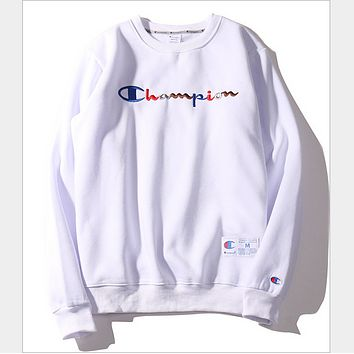 Champion letter embroidery sweater tide men and women Harajuku BF style couple plus cashmere coat White