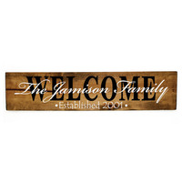 Personalized established last name welcome wood sign - Wood home decor, Rustic Wood Signs, Gift for her, Country decor, Wedding Decor