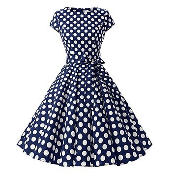 1950s Inspired Retro Inspired Dress, Navy Blue with Large White Polka Dots, Sizes XS - 3XL