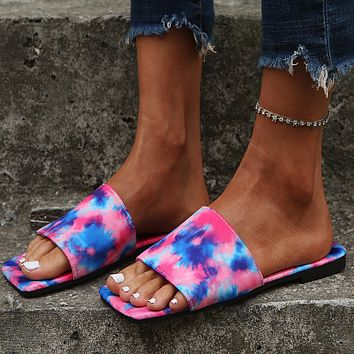 Summer new style square-toe flat-bottom sandals female plus size flip-flops slippers shoes