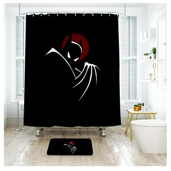 Batman Black Shower Curtain Waterproof Polyester Fabric Bath Curtain For The Bathroom And The Floor Mat