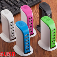 Tech 60W 6 Port Desktop Charging Hub 5 Color